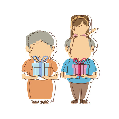 bald girl: cute grandparents standing with their granddaughter vector illustration