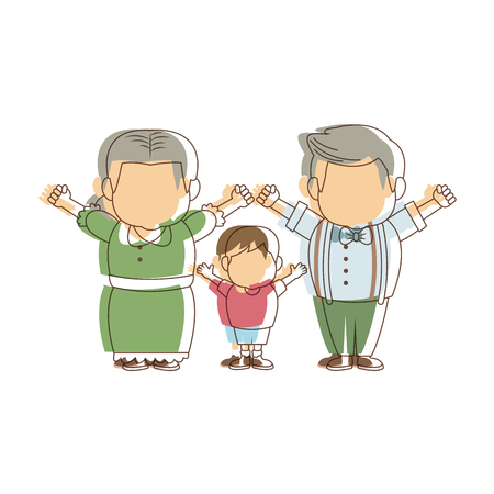 cute grandparents standing with their grandson vector illustration