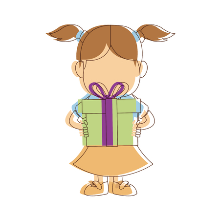 portrait girl granddaughter young with gift box image vector illustration