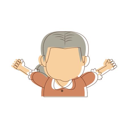 mature adult: lovely grandmother old woman image cheerful vector illustration