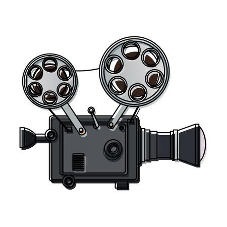 hoge gedetailleerde vintage film projector bioscoop pictogram vectorillustratie