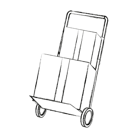 hand cart shipping box delivery service vector illustration