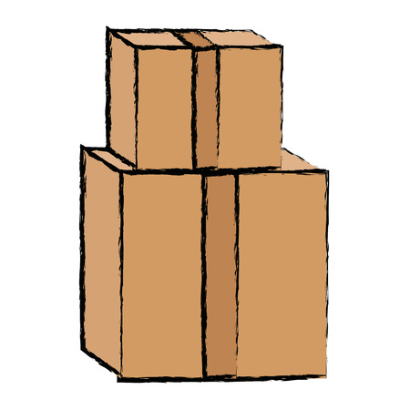 pile of cardboard boxes delivery cargo vector illustration Çizim