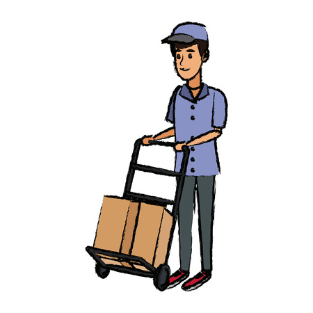 delivery man with cardboard box and push cart vector illustration