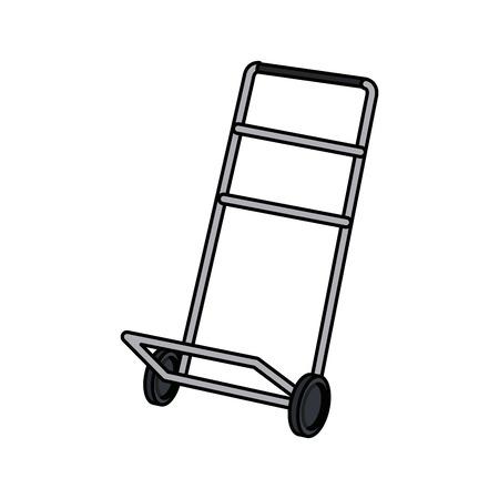 Hand wagen verzending doos bezorgservice vector illustratie
