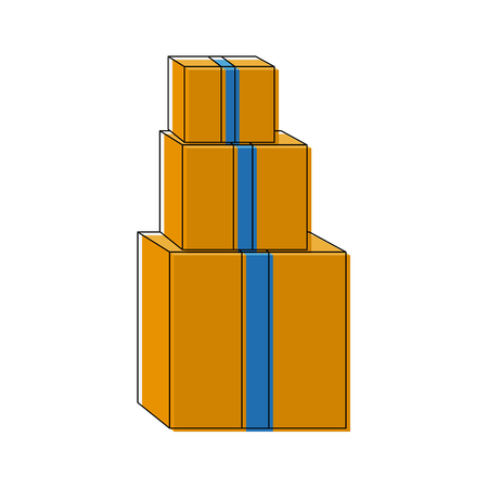 pile of cardboard boxes delivery cargo vector illustration Illustration