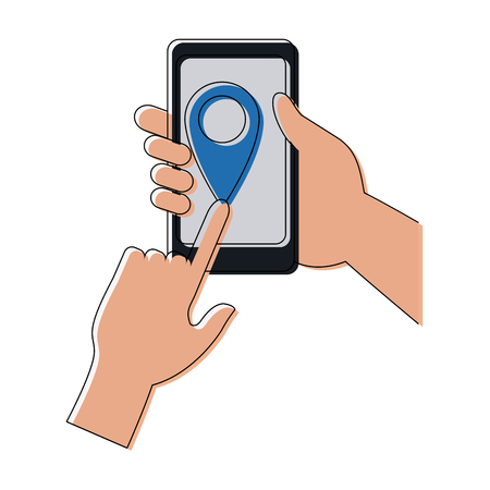 gps device: hands and smartphone with delivery service application location pointer vector illustration