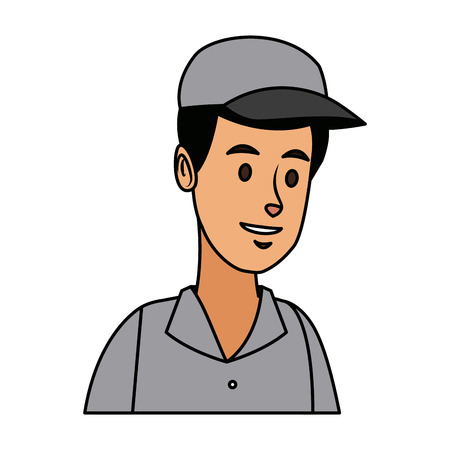 man in uniform of delivery worker character vector illustration Illustration