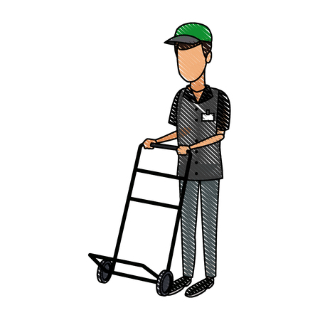 Delivery man with push cart vector illustration Illustration