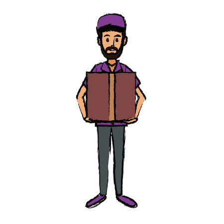 Delivery man holding a box for postal courier package vector illustration Illustration