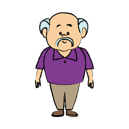 man cartoon standing casual clothes character vector illustration