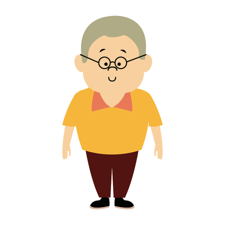 man male cartoon standing senior person character vector illustration Illustration