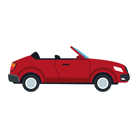 A red convertible car sport luxury elegant vehicle vector illustration.