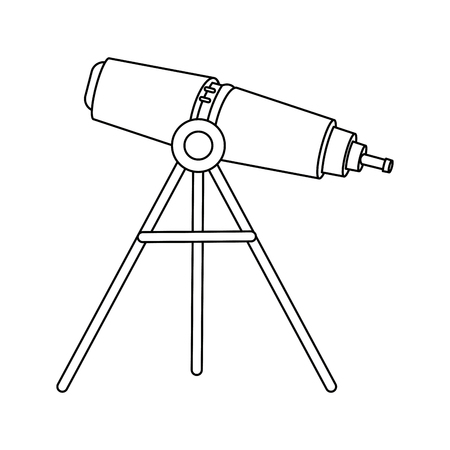 telescope education and astronomy element spyglass vector illustration