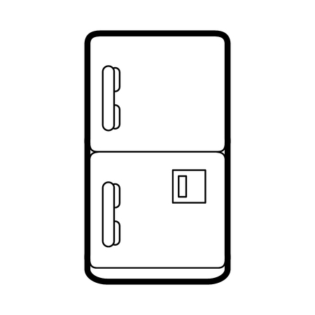 Fridge household electric appliance image vector illustration Illustration