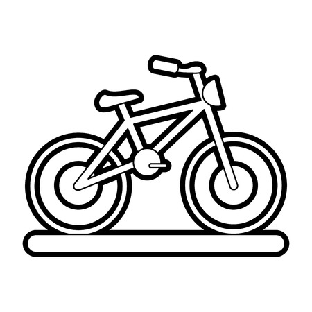 Flat line uncolored bike over white background vector illustration