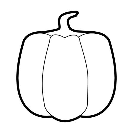 Flat line uncolored pumpkin over white background vector illustration Illustration