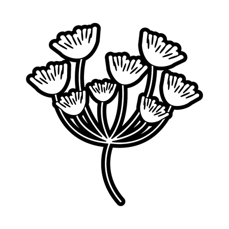 Flat line uncolored flowers over white background vector illustration Illustration