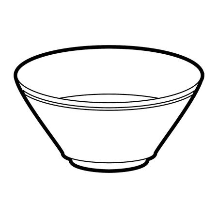 plate: Flat line uncolored bowl over white background vector illustration Illustration