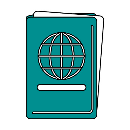 documentation: Flat line passport with a hint of color over white background
