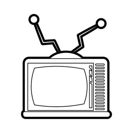 Flat line uncolored tv over white background vector illustration Illustration