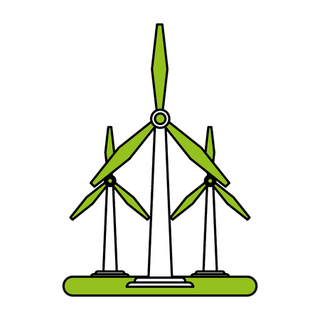 Flat line wind turbines with a hint of color over white background
