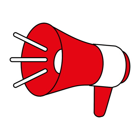Flat line megaphone with a hint of color over white background Illustration
