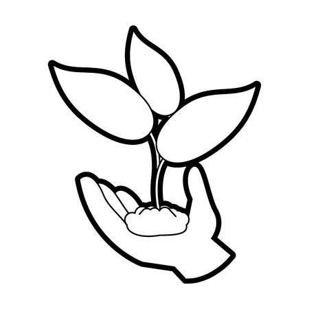 Flat line uncolored hand holding plant over white background vector illustration