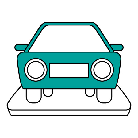 sunroof: Flat line car with a hint of color over white background Illustration