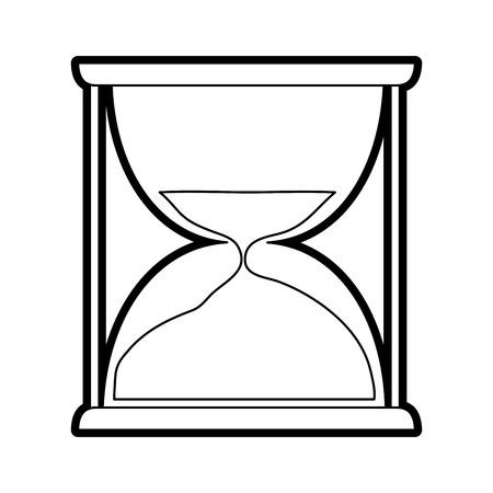 chrome: Flat line uncolored hourglass over white background vector illustration