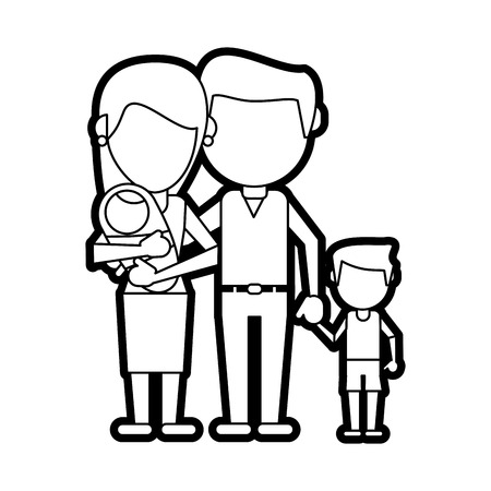 Flat line uncolored family over white background vector illustration