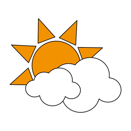 Flat line sun and clouds with hint of color over white background