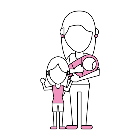 Flat line mom with daughters with hint of color over white background Illustration