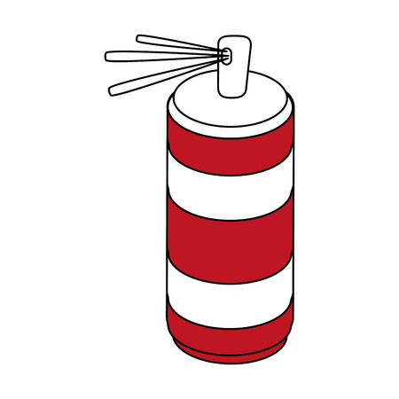 Flat line spray can with hint of color over white background Illustration