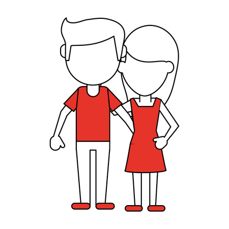 Flat line couple with hint of color over white background