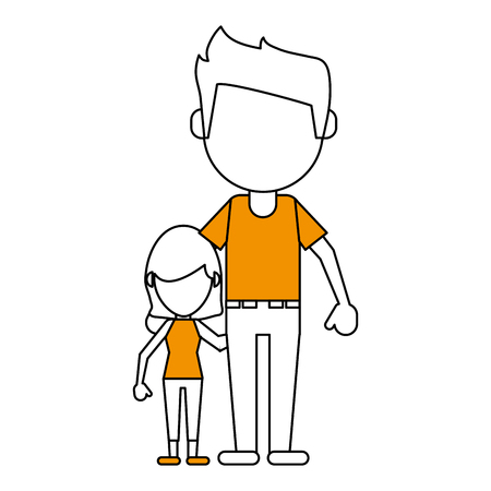 hint: Flat line dad and daughter with hint of color over white background