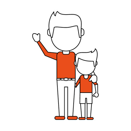 Flat line dad and son with hint of color over white background Stock Photo