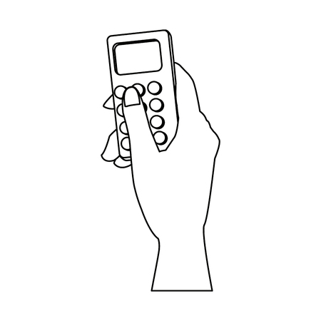 hand holding smartphone device wireless vector illustration Illustration