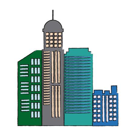 cityscape skyline town architecture skyscrapers urban landscape vector illustration