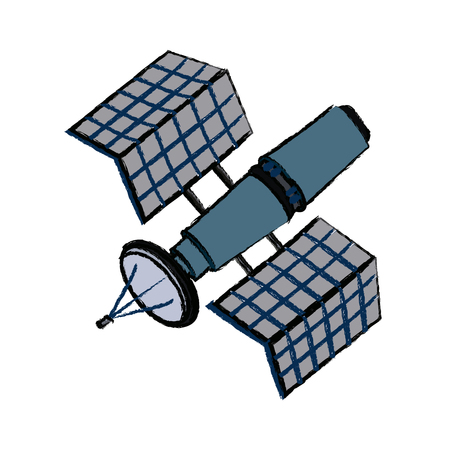 satellite wireless technology world global net vector illustration
