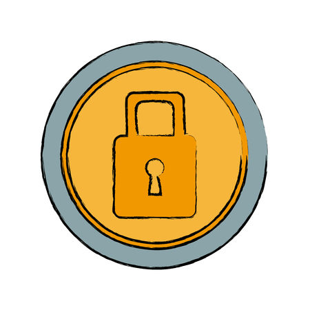 security protection padlock keyhole close symbol vector illustration Illustration