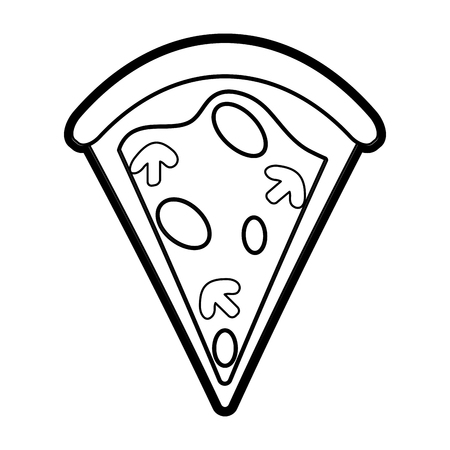 pizza slice delicious fast food icon image vector illustration paint Illustration