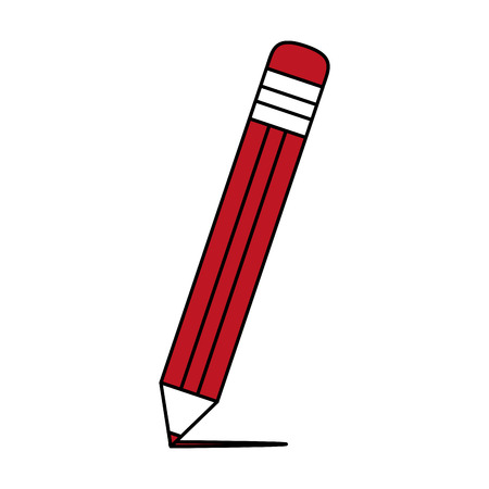 pencil with eraser icon image vector illustration flat