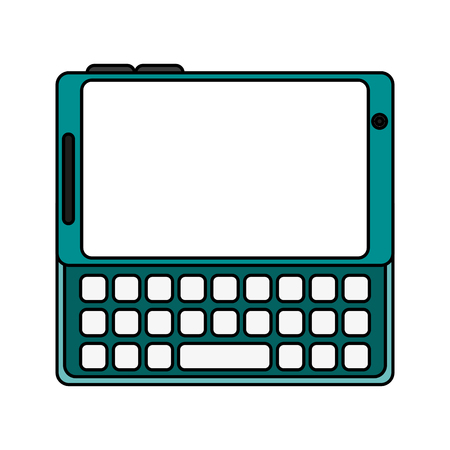 wireless: blank screen cellphone with buttons icon image vector illustration flat Illustration