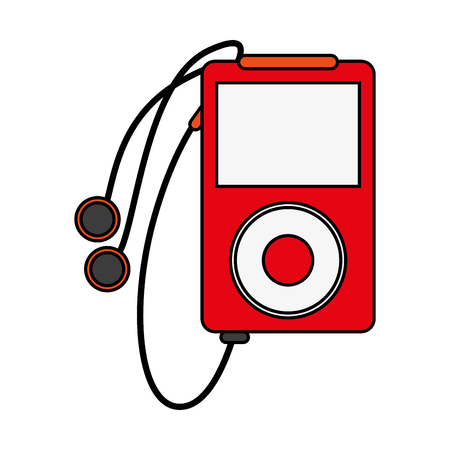 electronic music: portable music player with earphones icon image vector illustration flat Illustration