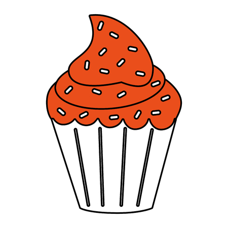 delicious cupcake with sprinkles icon image vector illustration flat Vectores