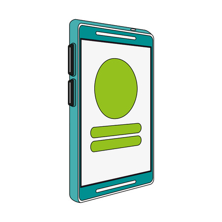 responsive: smartphone with symbols on screen icon image vector illustration flat Illustration