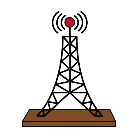 Antenne telecommunicatie pictogram afbeelding vector illustratie flat Stockfoto - 82699524