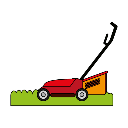 lawn mower gardening tool icon image vector illustration flat