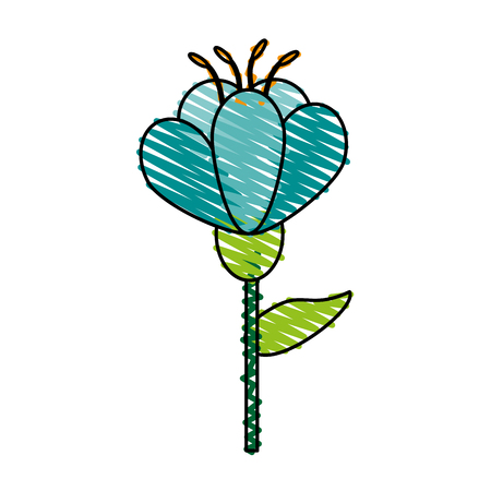 single blue flower icon image vector illustration scrawl